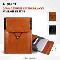 Vintage Sleeve Pouch Bag Genuine Leather Wool Felt Case For Apple Macbook 12 Laptop Bag Case