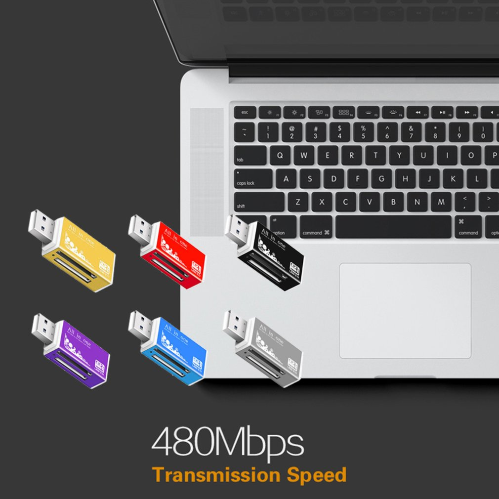 4 in 1 Micro USB 2.0 Memory Card Reader usb Adapter for Micro SD card TF M2 MMC MS PRO DUO Card Reader
