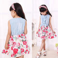 2016 Hot-selling Sweet Baby Girls Kids Flower Dress Sleeveless Bow Denim Vest Top+Tulle Floral Party Dresses Toddler Clothes