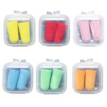 2Pcs Soft Foam Ear Plugs Tapered Travel Sleep Noise Cancelling Hearing Protection Sponge Candy Color Earbuds Reusable With Box(China)