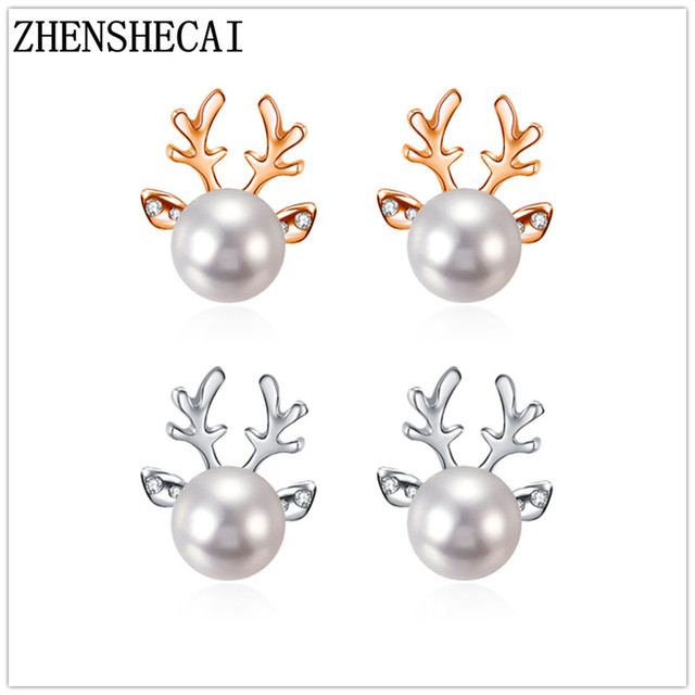 2018 new Fashion Hot God sliver Christmas Pearl Deer Earrings For Women elegant Ear Stud For Girls Jewelry wholesale