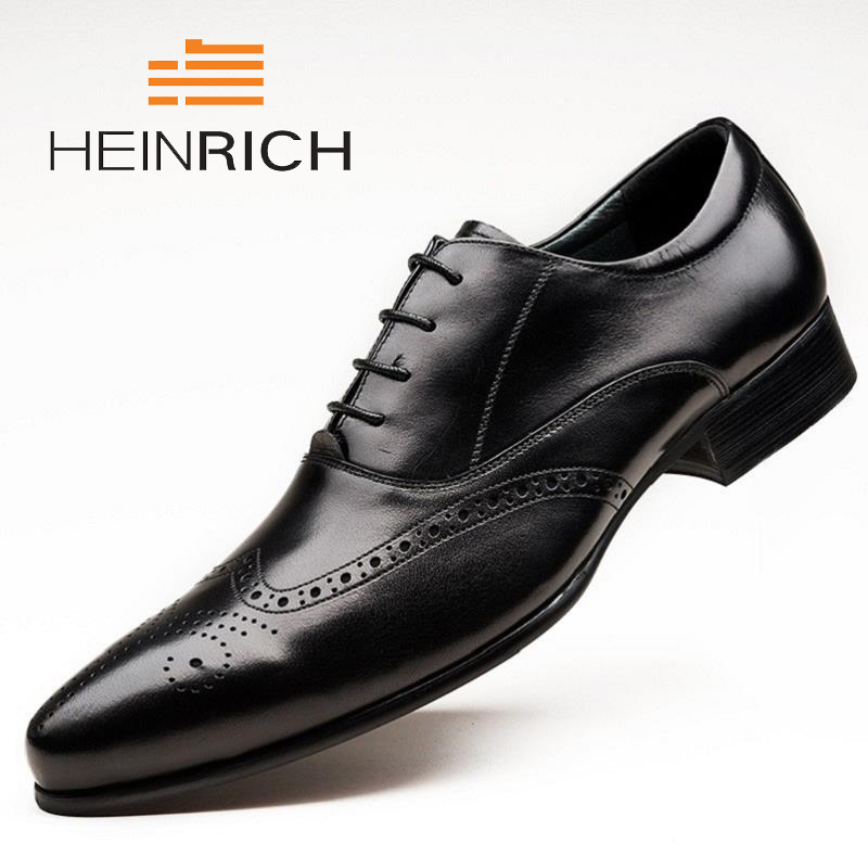 HEINRICH NEW Fashion Men Genuine Leather Shoes High Quality Wedding Shoes Pointed Toe Business Dress Men Shoes Sepatu PriaHEINRICH NEW Fashion Men Genuine Leather Shoes High Quality Wedding Shoes Pointed Toe Business Dress Men Shoes Sepatu Pria