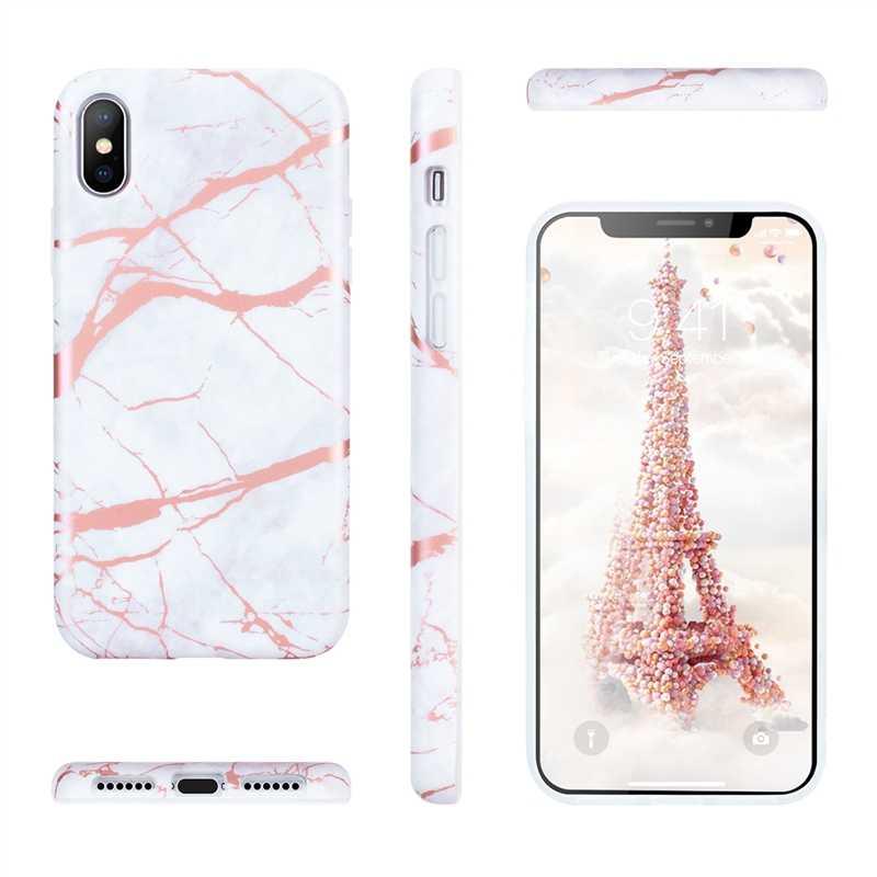 Yokata Marmer Mewah Kasus Untuk iPhone X 7 6 s 6 Ditambah SE 5 s 5 Penutup Silikon Lembut Untuk Emas Tombol Responsif Shockproof ultra tipis