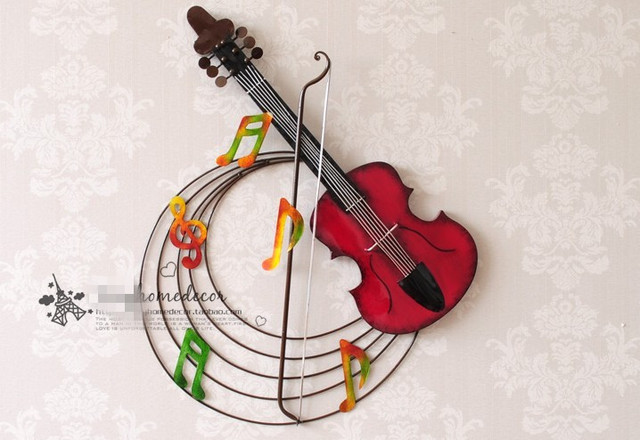 Brand-new Modern Home Decoration Metal Wall Art Hand Made Metal 3D Violin  VF64