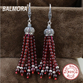 100% real 925 sterling silver jewelry red garnet elegant all-match drop earrings for women Party Christmas Gifts Bijoux HSJ30178