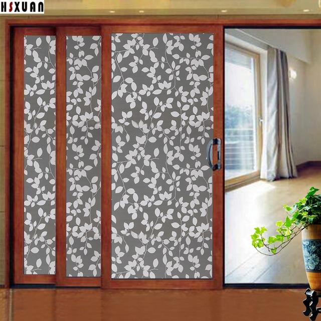 92x100cm Hsxuan Brand Waterproof Glass Stickers Living Room Door Leaf  Patterns Window Privacy Film Decoratvie Stickers