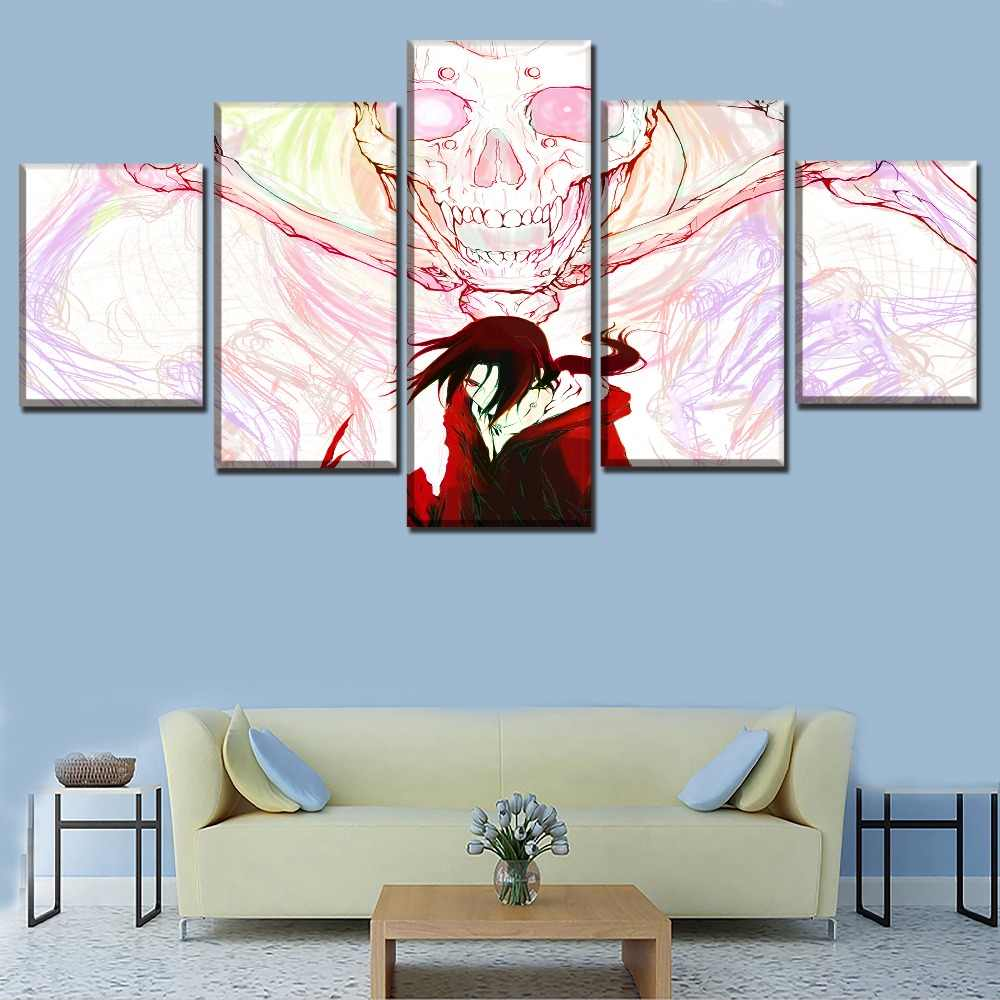 Canvas Print 5 Piece Anime Naruto Itachi Uchiha And Susanoo Skull Poster One Set Framework Or Unframed  Wall Art Home Decorative