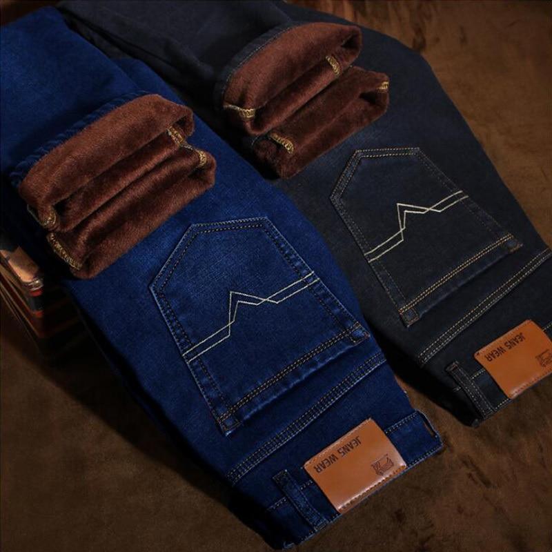 2018 New Winter Fleece Lined Stretch Denim Warm Jeans For Men Designer Slim Fit Men Jeans Pants