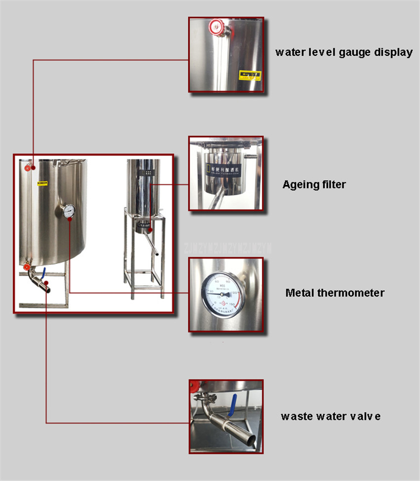 400L Double Cooler Large Wine Brewing Equipment With Steam Generator Liquor Distillation Commercial Wine Making Machine 7