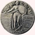 Соединенные Штаты 1916 стоящий LIBERTY QUARTER DOLLARS Копировать монеты - фото