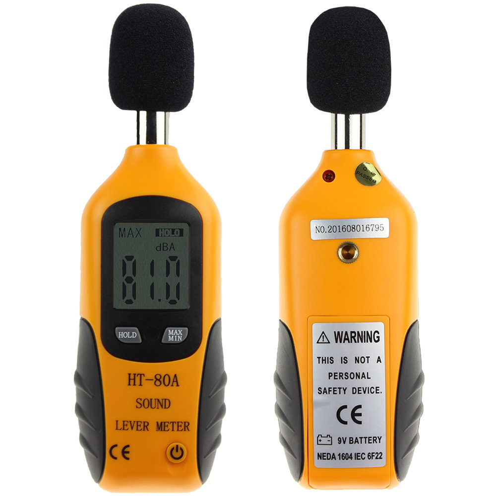 2017 HT-80A Mini Portable Size Sound Level Meter LCD Digital Screen Display Noise Tester Noise Decibel Monitor Pressure Tester sound size tester bar decibel meter noise tester electronic noise meter sound level meter decibel tester for bar 123x75x27mm