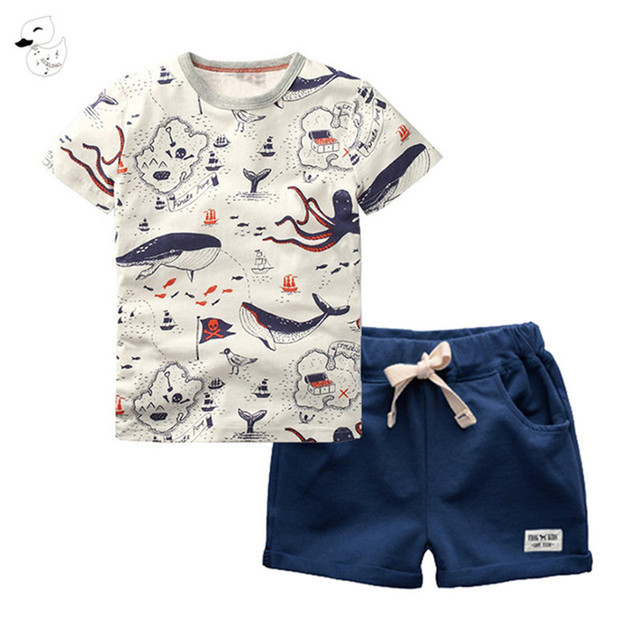 BINIDUCKLING 2PCS Children's Sets Boys O-Neck T-Shirt and Pants Shorts Summer Casual Cartoon Pullover Cotton Kids Boy Clothes