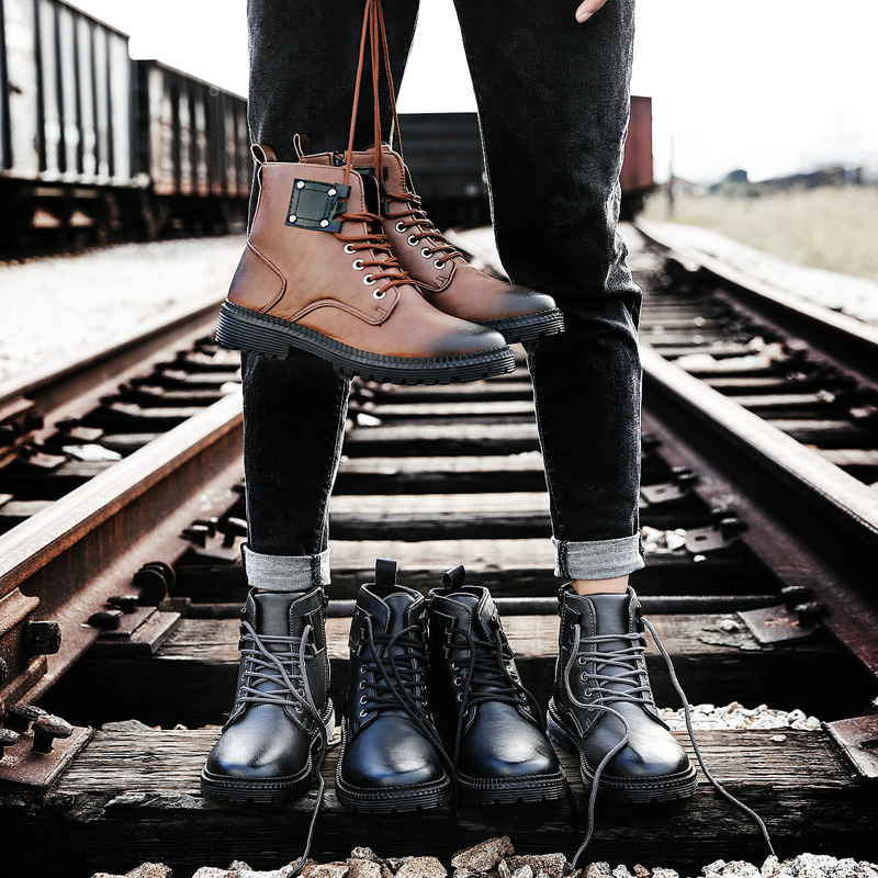 UNN Autumn/Winter Men Boots Vintage Style Men Shoes Casual Fashion High-Cut Lace-up Warm Military Leather Comba Boots for Men цены онлайн