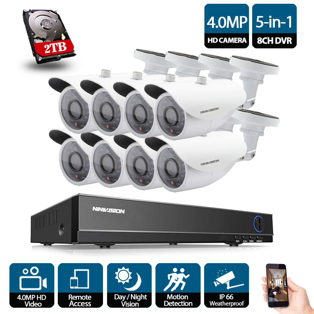 8CH 8 channel cctv DVR 4MP AHD 1080P 720P 960H dvr 8pcs IR 4.0MP HD indoor outdoor security camera system cctv dvr kit With 2TB цена