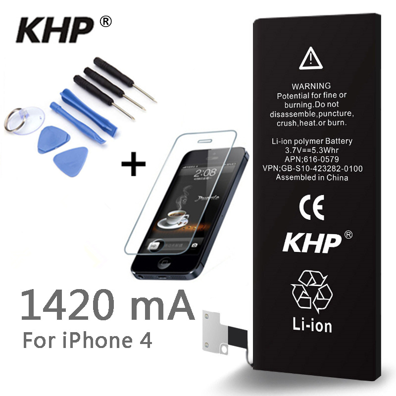 100% Original Brand KHP Phone Battery For iphone 4 Real Capacity 1420mAh Free Repair Machine Tools With Retail Package and glass