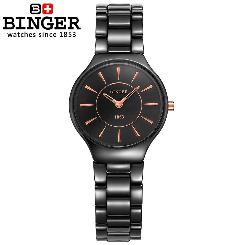 Image 2 - Switzerland luxury brand womens watches  Binger ceramic quartz  Wristwatches fashion lovers style Water Resistant clock B8006 6clock  brandclock fashionclock women