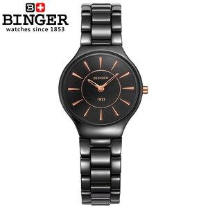 Image 2 - Switzerland luxury brand womens watches  Binger ceramic quartz Wristwatches fashion lovers style Water Resistant clock B8006 6