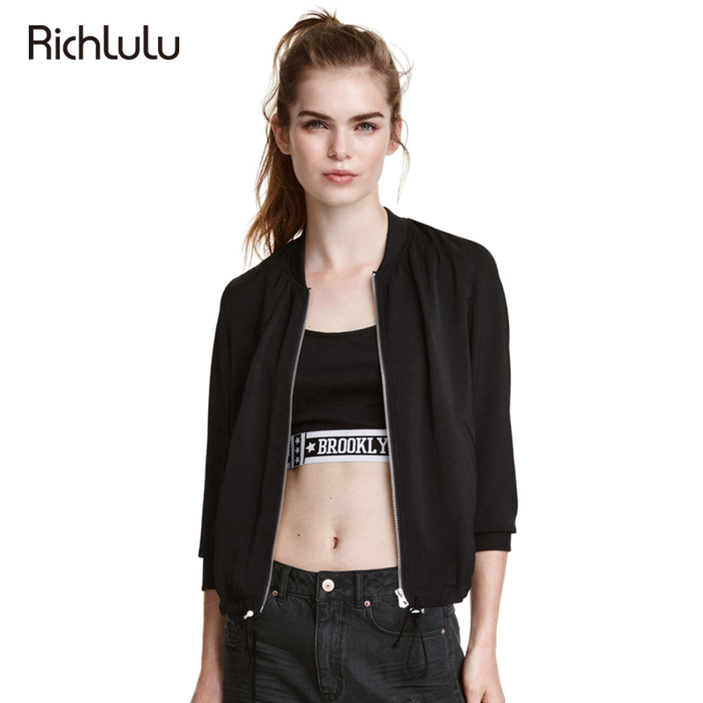 RichLuLu Negro Mujeres Chaqueta de Bombardero de la Moda Streetwear de Manga Lar