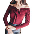 Sexy Slash Neck Bows Elastic Knitwear Women Lace Up Office Wear Elegant T-Shirt Women Tops Knitted T Shirt Female Tees Black Red
