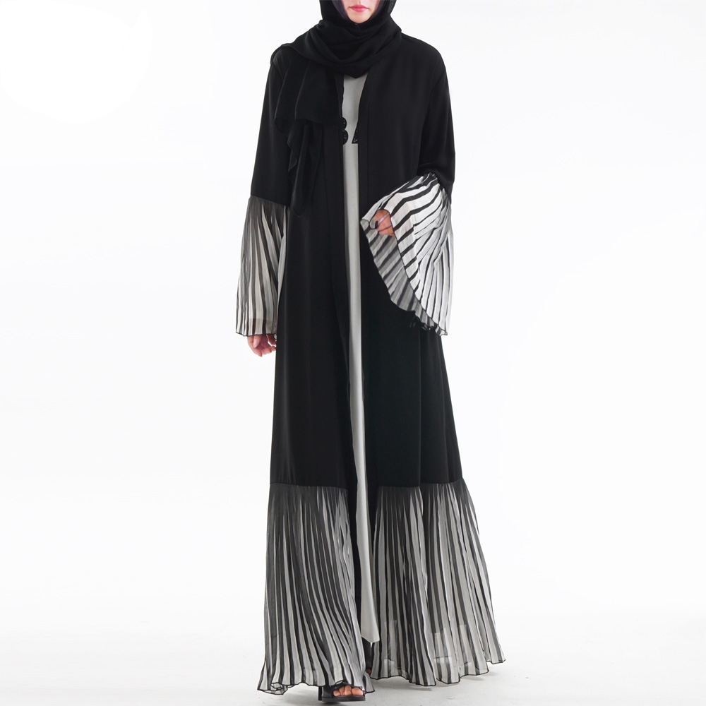 Muslim Women Dress Striped Middle East Islamic Gown Dubai Robe Flare Sleeve Abaya Jilbab Fashion Kaftan Dress Middle East Gown