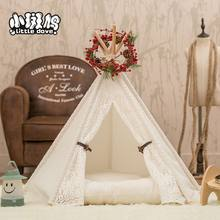 Cotton Mechanical Wash Solid Pet Teepee House Bed For Cat Portable Dog Tents For Small Dogs(China)