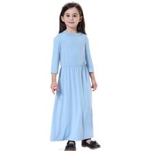 Arabic Dresses Muslim Children Soft Long Islamic Girls Elastic Waist Chiffon
