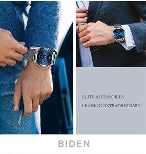 Image 4 - Moda męska Sport zegarek niebieski srebrny chronograf kalendarz Casual Business zegarek kwarcowy mężczyźni wodoodporna stal nierdzewna siateczkowy pasek