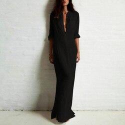 Easehut vestido de verão feminino 2020 boho sólida laminado manga comprida botão camisa vestido de verão elegante solto maxi longo vestido plus size