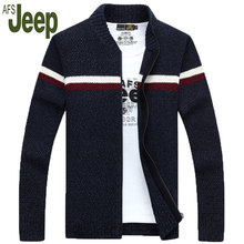 2016 autumn and winter latest AFS JEEP men's thick coat zipper cardigan sweater Battlefield Jeep men's fashion casual sweater 80