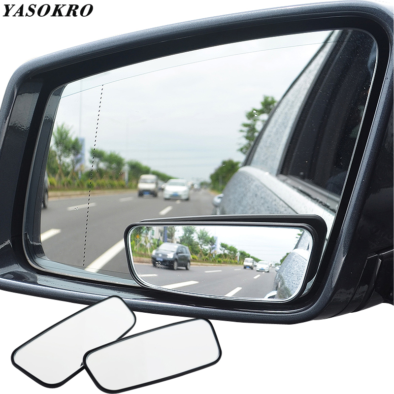 White Adjustable Convex Wide Angle Rear View Side Blind Spot Mirror for Car