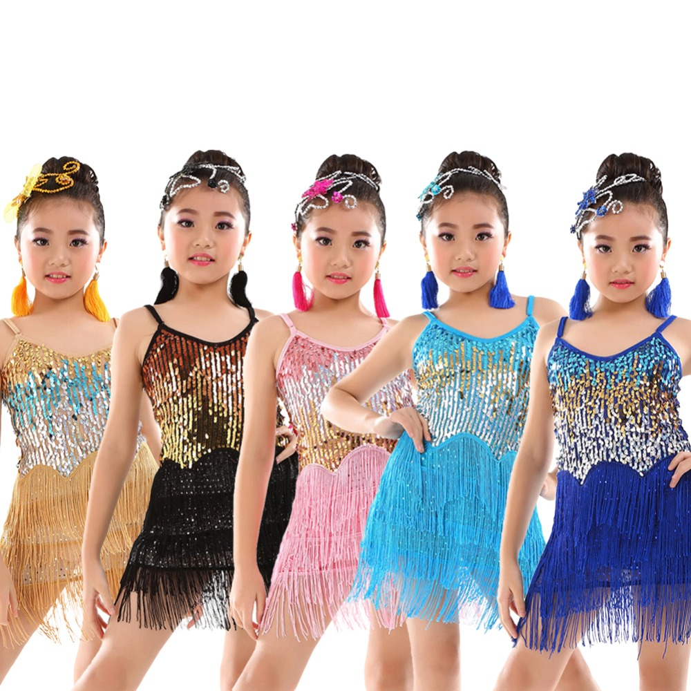 Girls 5 Color Sparkling Latin Rumba Salsa Dresses Sequin for girls competition ballroom costume carlisle san ramekin salsa dish 5 ounce