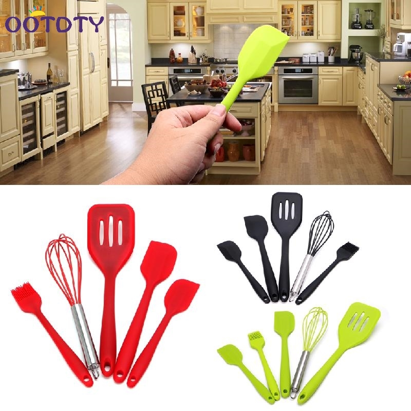 Heat Resitant Silicone Kitchen Utensils Set Non-stick Cooking Bake Tool 5Pcs/Set