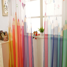 2017 Colorful pencil ready made kids 3d tulle curtains for living room children window curtains for bedroom luxurious cortinas