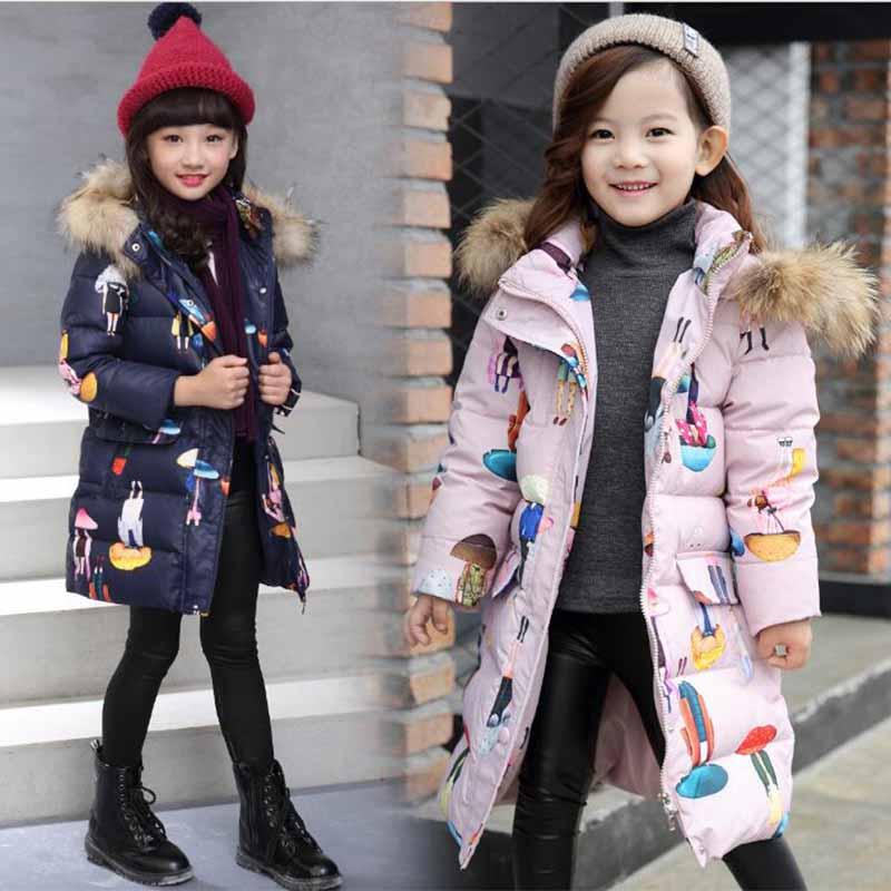 Girls Duck Down Jackets Children Warm Fur Hooded Jackets Children Casual Outerwear 2017 Raccoon Fur Collar Thick Warm Overcoat 2017 winter new clothes to overcome the coat of women in the long reed rabbit hair fur fur coat fox raccoon fur collar