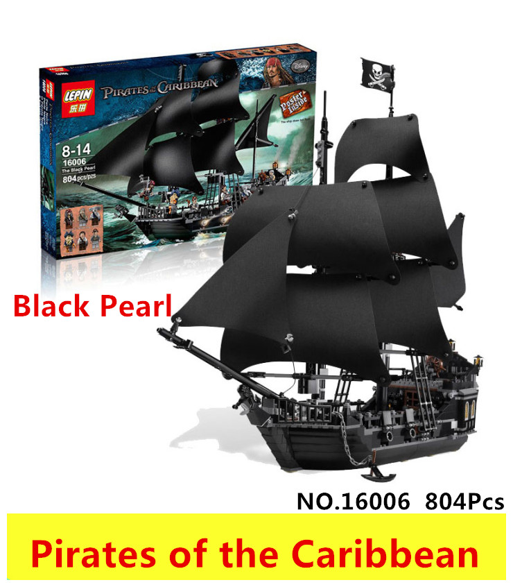 LEPIN 16006 804pcs Pirate ship Pirates of the Caribbean The Black Pearl Building Blocks toys for children Gifts 4184 brinquedos lepin 22001 1717pcs pirate ship imperial warships model building blocks toy compatible with legoe pirates caribbean 10210