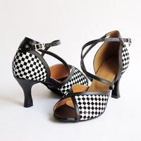 New Arrival Ladies Latin Dance Shoes In Black White Blue Red Gold 4 Colors Square Heel