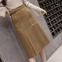 DoreenBow New Fashion Wool Cotton Skirts Autumn Winter Sexy Pockets Trend Style Zipper Skirts Black Coffee