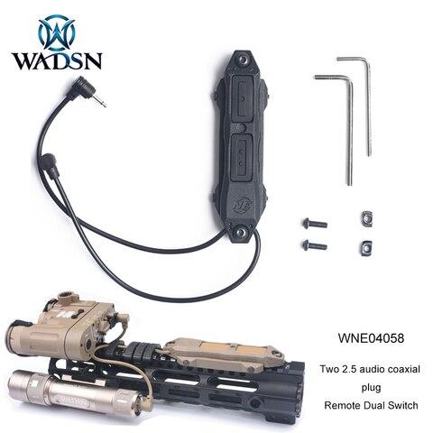wadsn airsoft remoto duplo interruptor 2 5mm tomada coaxial de audio tatico almofada de pressao