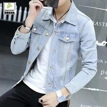 Fashion Korean Casual Denim Jacket Men Slim Single Breasted Spring Autumn Jacket Coats Vintage Mens Jean Clothing Plus Size 3XL