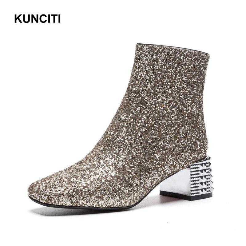 Dames yellow Kunciti Med 2018 Chaussures Tissu Haute Talon Cheville D315 Rose À Paillettes Or Courtes Gray Chaussons Femmes Bling Bottes Argent pink 5gwFxAF