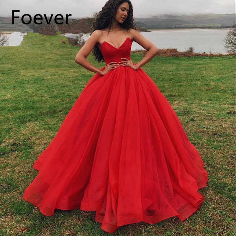 2019 Red Prom   Dresses   Wear V Neck Off Shoulder Sleeveless Tulle Floor Length Puffy Ball Gown   Evening     Dress   vestido