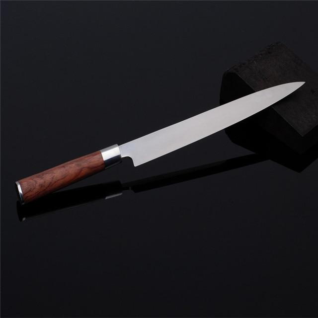 Sashimi Knife slicer Germany SS Rosewood handle Salmon fish fillet knife Kitchen Knife left-hand blade Knives freeship9.01 1