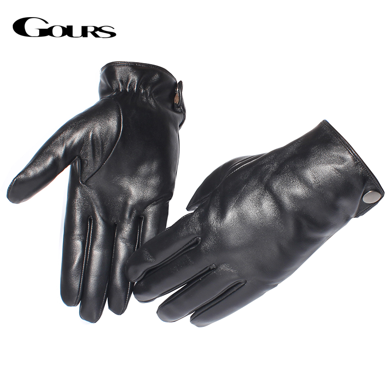 Gours Mäns äkta läderhandskar Mode varumärke Real Sheepskin Black Touch Screen Gloves Button Vintervarma Mittens GSM051