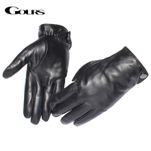 Gours Men's Genuine Leather Gloves Fashion Brand Real Sheepskin Black Touch Screen Gloves Button Winter Warm Mittens New GSM051