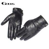 Gours Men's Genuine Leather Gloves Fashion Brand Real Sheepskin Black Touch Screen Gloves Button Winter Warm Mittens GSM051