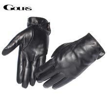 Gours luvas de couro genuíno masculino marca moda real pele carneiro preto tela toque luvas botão inverno quente luvas gsm051