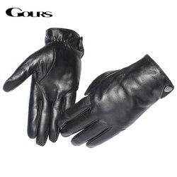 Guantes de cuero genuino para hombre, marca de moda, guantes de piel de oveja negra con pantalla táctil, guantes de invierno con botones GSM051