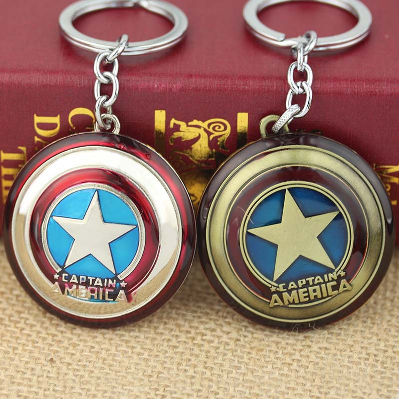 10PCS/Lot Super Hero The Avengers Captain America Shield Metal Keychain Pendant Key Chain Chaveiro Gift For Men Boys