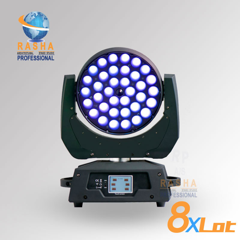 8X LOT Factory Price 36pcs*15W 5IN1 RGBAW Zoom LED Moving Head Wash,LED Moving Head Light With Touch Screen LCD Display,Powercon