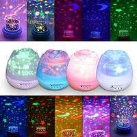 LumiParty Romantic Rose LED Night Lamp Starry Sky Rotation Projector Lamp USB Rechargeable Kids Baby Sleeping